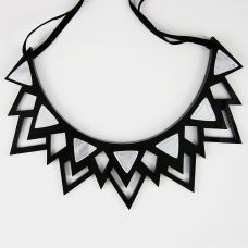 The Fitzgerald silver mirror perspex spike necklac