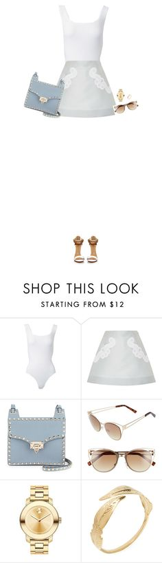 """How to Style a White Bodysuit with a Grey Skirt, Blue Valentino Bag and White/Gold Sandals"" by outfitsfortravel ❤ liked on Polyvore featuring Alaïa, Antonio Berardi, Valentino, BP., Movado and Avigail Adam"