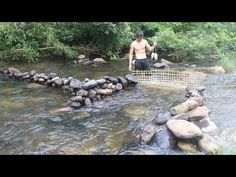 Primitive Technology: Build a stone dam to trap fish and cook fish in the forest of survival Survival Fishing, Primitive Technology, Do Not Fear, Survival Skills, Outdoor Living, Shtf, Stone, Building, Blessings