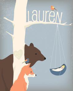 Illustrazione personalizzata bambini, gli animali nei boschi guardando un neonato, regalo dell'acquazzone del bambino, arte del vivaio