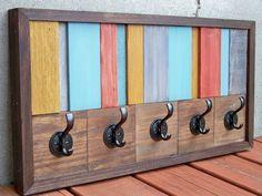 Reclaimed Wood Stripe Coat Rack by Rustic Wood Originals on Etsy, $140.00