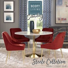 This modern classic marvel is a part of our brand new Scott Living Collection! (Item#   Find this and more Scott Living Exclusive styles by clicking on the picture!   #ScottLivingSaturday #ScottLiving #SLbyCoaster #Decor #HomeDecor #HomeImprovement #HomeMakeover #HomeFurnishing #HomeGoals #InteriorDesign #Interior123 #InteriorDecor #HomeStyle #HomeInspiration #HomeInspo #DesignInspo #FurnitureDesign #DiningRoom #Table #Chair #Bench #CoasterCompany #Coaster