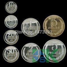 russia 1958 coins 1/2/3/5 rubles and 10/15/20/50 kopeck souvenir coins 1 SET COPIES