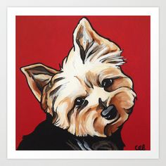 Pet/Dog Portrait of Yorkshire Terrier/Yorkie on Red Art Print by Cheney Beshara - $22.88