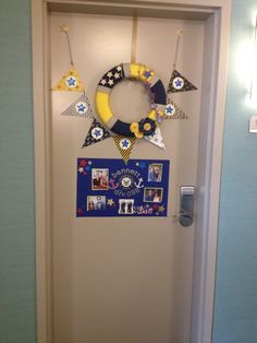 US Navy PIR (boot camp graduation) hotel room door decorations.  Purchase your own Navy wreath or banner here:  https://www.etsy.com/shop/ANavyMomsDesign?ref=search_shop_redirect