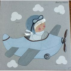 Cuadro artesanal - Niño con avión en celeste de bebe BB the countrybaby | Cuadros Artesanales para bebes