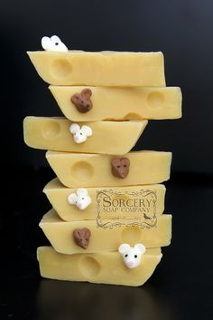 Mouse and Cheese soap, scented with Bramble Berry Lemongrass-Coconut (stronger lemongrass with a touch of coconut) Fragrance. Yum all the way around. http://sorcerysoap.com/product/mouse-and-cheese-soap/