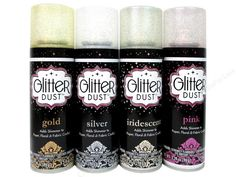 Therm O Web Glitter Dust is a clear artist spray infused with ultra-fine glitter! Perfect for adding a hint of sparkle and shimmer to any project! Great for use on paper, cardstock, invitations, scrapbooking, crafts, dried & silk flowers, wood, styrofoam , ceramics, fabric and more! Acid-free. Glitter colors include Gold, Silver, Pink and Iridescent. Each spray can has 4.2oz. 4pc.