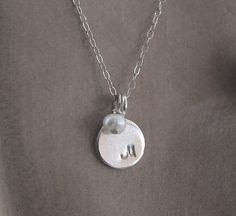 Simple necklace. Everyday casual accessory. Initial and pearl necklace. 925 Sterling silver by KatieBourchier