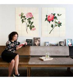 IXXI Wanddecoratie Reeves Two flowers roze groen papier set van twee S 120x80cm - wonenmetlef.nl