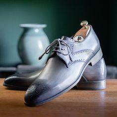 Paul Parkman Men's Gray Medallion Toe Derby Shoes Fab Shoes, Men's Shoes, Nike Shoes, Shoe Boots, Mens Fashion Shoes, Fashion Boots, Derby Shoes, Luxury Shoes, Boys Shoes