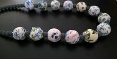 Vintage Inspired Blue Flowered Fabric Beads with by BeadsThatPop