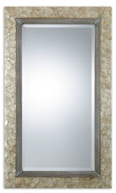 Large Pearl Shell Framed Mirror with capiz shell and rope details