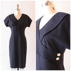 Vintage nautical navy wiggle dress by SchoolofVintage on Etsy, $29.00