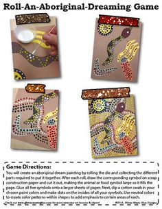 Free - Roll-An-Aboriginal-Dreaming Game - Multicultural Collage Art Activity - 4-6