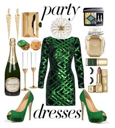 """""""#PolyPresents: Party Dresses"""" by pulseofthematter ❤ liked on Polyvore featuring Nissa Jewelry, Christian Dior, Victoria's Secret, Dolce&Gabbana, Guerlain, Hudson Valley Lighting, Stephen Webster, Perrier-JouÃ«t, Vera Wang and Godiva"""
