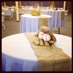 Sports theme.. centerpiece for tables - do a different sports item on each table. Love the burlap!