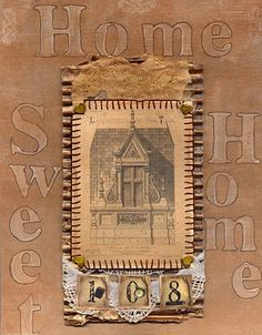 Lavendula Loveliness: Home sweet home using corrugated cardboard and copper paint etc by Sandra Foster.