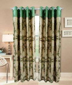 Homefab India Green and Beige Floral Polyester Window Curtain (4 Curtains), http://www.snapdeal.com/product/homefab-india-green-and-beige/1609254450