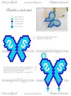 Butterfly pattern in brick stitch