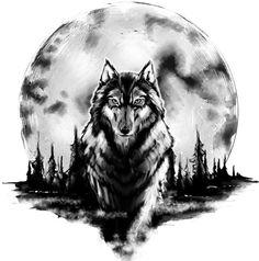 Wolf und Mond : Tattoo Vorlage