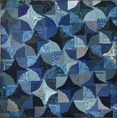 - Austin-based quilter & artist, Janette Bibby - One of a Kind - Log Cabin design - All cotton indigo fabric with some linen pieces - 120 hours of design and quilting - Measurements: Length: 78"
