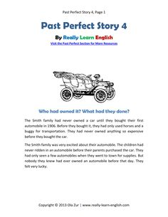 Free printable story and worksheets to practice the English Past Perfect Tense (comprehension, vocabulary, and grammar). This is a PDF file that you can download and print for an easy ESL classroom lesson.