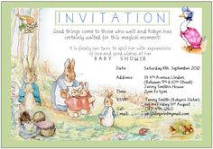 Peter Rabbit - Idea for a Baby Shower Invitation. I can email you this blank word document at no cost if you would like it Peter Rabbit Birthday, Peter Rabbit Party, Baby Shower Themes, Baby Boy Shower, Shower Ideas, Beatrix Potter Birthday Party, Peter Rabbit Nursery, Garden Baby Showers, Baby Shower Templates