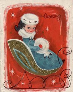 Lady in Sleigh Christmas Card