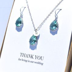 Here is a Beautiful color for a Wedding. We LOVE Color!!! Prasiolite Necklace and Earrings Set by Taffeta Jewelry