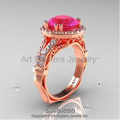 Caravaggio Italian 14K Rose Gold 3.0 Ct Pink Sapphire Diamond Engagement Ring Wedding Ring R620-14KRGDPS