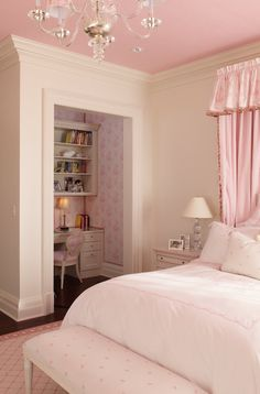 girl's rooms - nightstand, distressed nightstand, pink bed with cornice canopy, closet desk