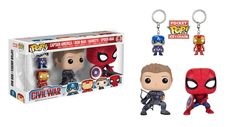 Captain America Civil War: Hawkeye and Spiderman Pop figures, Captain America and Iron Man Pocket Pop keychains in a set by Funko