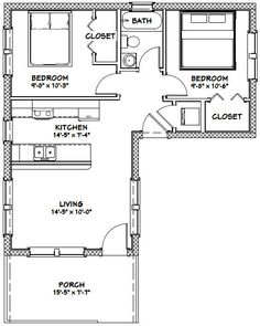 Tiny House -- -- 705 sq ft - Excellent Floor Plans Living room needs to include porch area, and put deck all of front right. L Shaped Tiny House, L Shaped House Plans, Small House Floor Plans, Small Tiny House, Tiny House Cabin, Tiny House Living, Tiny House Design, The Plan, How To Plan