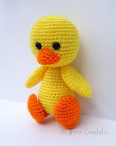 Items similar to Douglas the Duck- Crochet Amigurumi: Yellow, Orange on Etsy Crochet Patterns Amigurumi, Crochet Stitches, Crochet Birds, Black Felt, Orange, Yellow, Single Crochet, Hello Kitty, Embroidery
