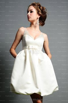 Ivory Empire V-neck Taffeta Belt Short Wedding Dress