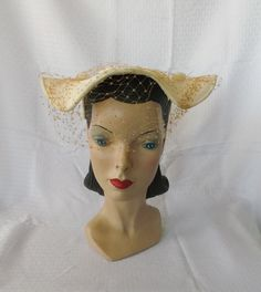 1950's Vintage Off White Straw New Look Hat William H. Block Co Indianapolis on Etsy, $37.00