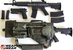 Tactical Scabbard for AR-15 Rifle OD Green Pistol & Double Mag Pouch Gun Case
