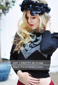Pretty Punk Princess DIY Black Flowers Head Crown | ...love Maegan