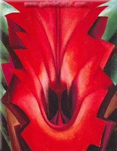 Inside Red Canna  by Georgia O'Keeffe    Artist Born: 15 November 1887; Sun Prairie, Wisconsin, United States  Died: 06 March 1986; Santa Fe, New Mexico, United States  Field: painting  Nationality: American  Art Movement: Precisionism  School or Group: Stieglitz group