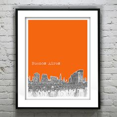 Buenos Aires Argentina Skyline Poster Art Print .  This would make a great personalized wedding gift, guest book or college graduation gift.