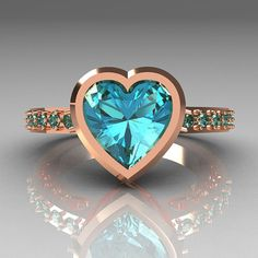 Classic Bridal 14K Pink Gold 2.10 Carat Heart by artmasters, $899.00