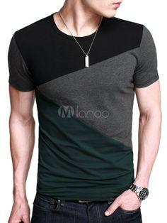 Camiseta de algodón de color-blocking de manga corta para hombres - Milanoo.com