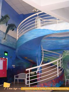 Deep Sea Murals Design @ Fairfield Methodist Secondary Singapore by First Sight International. To view more, visit www.firstsight.com.sg #interior #renovation #mural #school #MOE #fairfieldmethodist