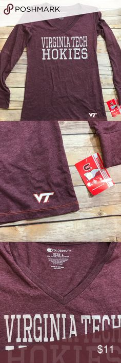 New with tags long sleeve Virginia Tech t-shirt Virginia Tech  Hokies long sleeved tee.  Never worn.  Tags attached. Colosseum Athletics Tops Tees - Long Sleeve