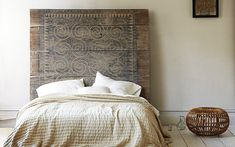 Patterned Wood Headboard via Christina Watkinson Home Bedroom, Master Bedroom, Bedrooms, Serene Bedroom, Interior And Exterior, Interior Design, Wood Headboard, Headboards, Decoration