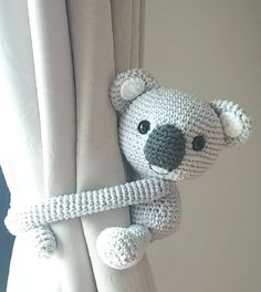 Koala bear curtain tie back, cotton yarn crochet koala bear, amigurumi.