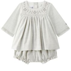 Petit Bateau Baby Girl's Twill Dress and Bloomers