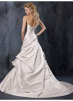 Elegant Exquisite Charm Satin Strapless Wedding Dress