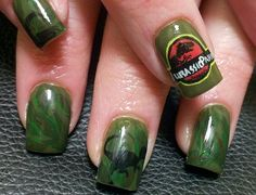 Check out at the detail on these Jurassic Park themed nails!